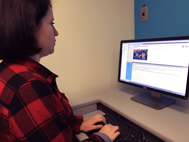 Second year student Amy Quinton using Burli Newsroom at BCIT